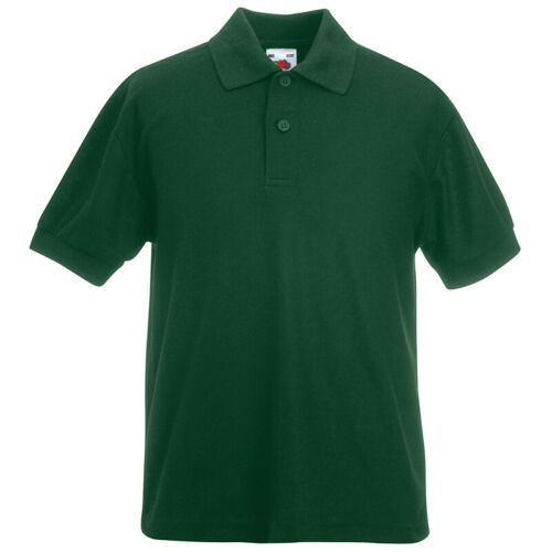 Fruit of the Loom Kids Plain Pique Polo Shirt School PE T-Shirt Casual Sport New