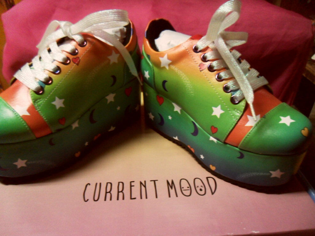 Current Mood Outta This World Moon & Stars Platform Sneakers Club Sz 5 RARE Rave Club Sneakers ab3f60