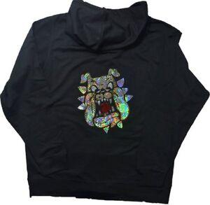 032af500e36 Details about Women s BULLDOG Bling Hoodie Love Sequins Glitter BLACK  zipped sweatshirt
