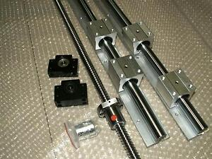 SBR16-300mm 2 linear rail+ballscrew RM1610-300mm+1 set BK//BF12 nut housing CNC
