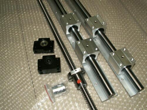 SBR16-700mm 2 linear rail+ballscrew RM1605-750mm-C7+1set BK//BF12 end bearing CNC