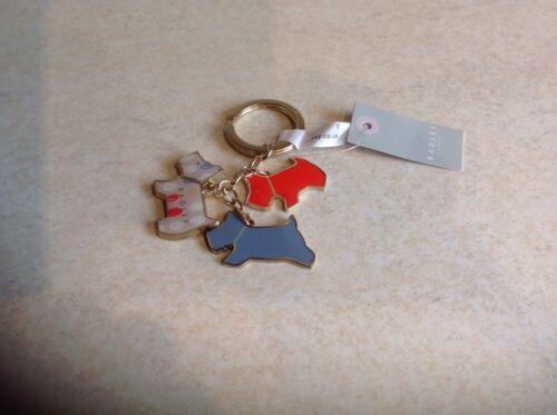 RADLEY Trio di cani Anello portachiavi in metallo con Etichette Nuovo di Zecca