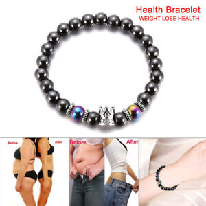 Magnetic-Hematite-Stone-Bead-Bracelet-Health-Care-Magnet-Weight-Loss-Jewel-X