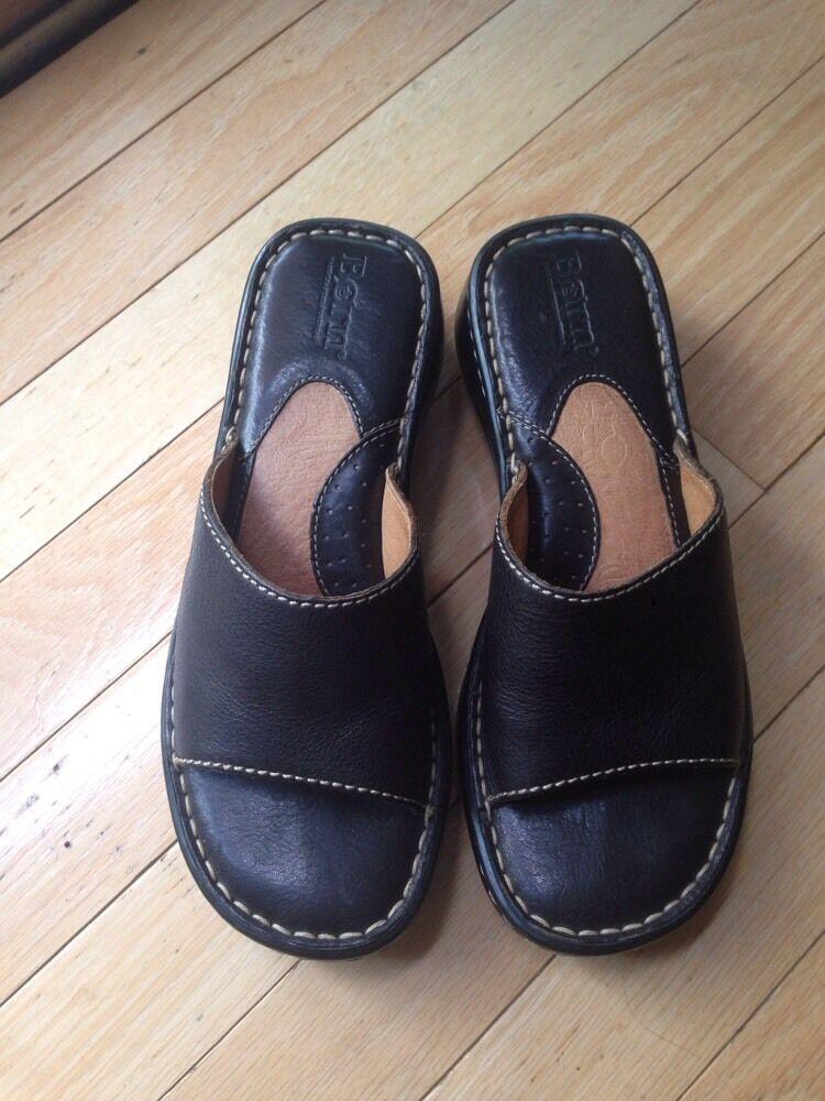 Womens Born Black Leather Sandals Size 6 M 36.5