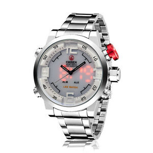 OHSEN-Mens-Military-Silver-Steel-Date-White-Dial-Digital-Quartz-Wrist-Watch-Gift