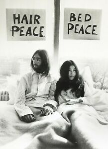 John Lennon Bed Peace Stretched Canvas Wall Art Poster Print Yoko Ono Beatles Ebay