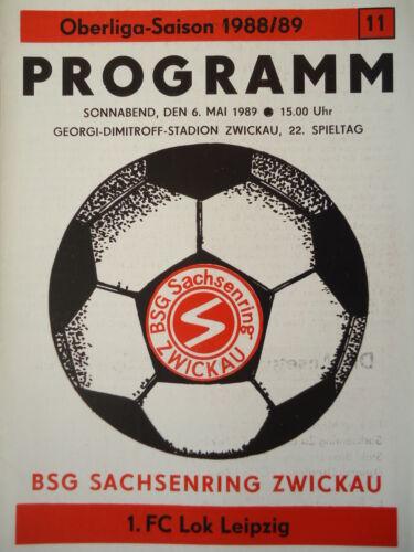 Lok Leipzig Programm 1988//89 BSG Sachsenring Zwickau