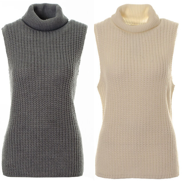 Women's Chunky Knitted Turtle Neck Sleeveless Jumper Ladies Warm Long Line Jumpe