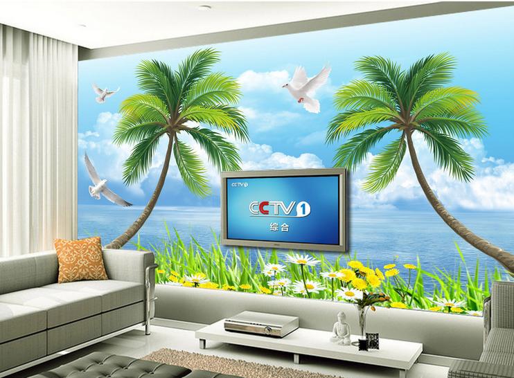 3D Blau Sky Coconut Lawn 98 Wallpaper Mural Paper Wall Print Wallpaper Murals UK