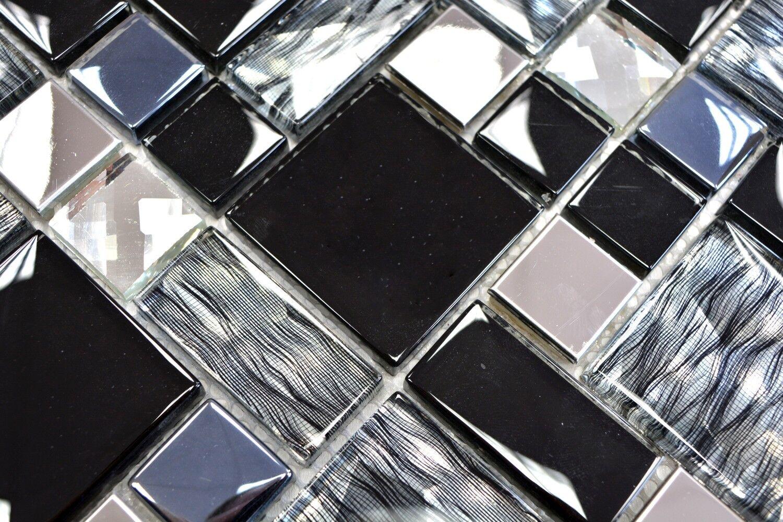Mosaik Fliese Transluzent Edelstahl schwarz Kombination   88-03689_f   10 Matten