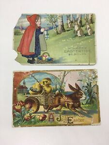 Lot-Of-2-Damaged-Antique-Postcard-Easter-Bunny-Rabbits-AS-IS-As-Found