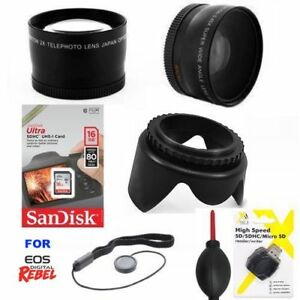Details About Wide Angle Macro Lens Telephoto Zoom Lens 16gb For Canon Eos Rebel T5 T6 T7