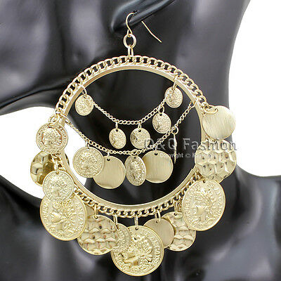 Ethnic Rare Gold Coins Big Hoop Banjara Kuchi Belly Dance Chain Gypsy Earrings
