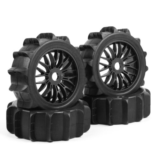 4Pcs RC Snowfield Desert Rubber Buggy Tire/&Wheel 17mm Hex For 1:8 Off-Road Car