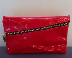 f65aa132f41b Image is loading YSL-Beauty-Red-Faux-Patent-Leather-Makeup-Cosmetics-