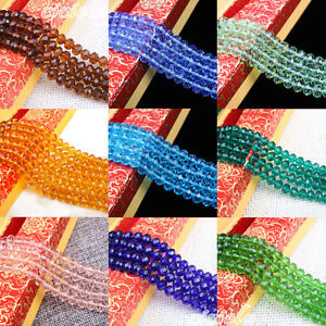 Rondelle-Faceted-Clear-Crystal-Glass-Loose-Spacer-Beads-Findings-DIY-4-6-8-10MM