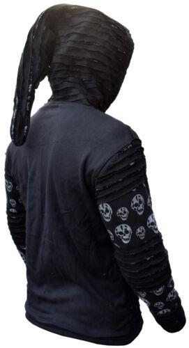 Hommes crâne imprimé en coton noir RazorCut long capuche veste festival goth sweat à capuche
