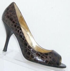 Enzo Angiolini 'Maylie' brown leather peep toe brown snake print heels 9M 6414