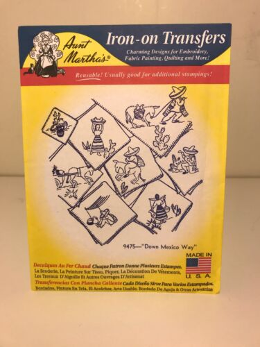 Down Mexico Way Aunt Martha/'s Hot Iron Embroidery Transfer #9475