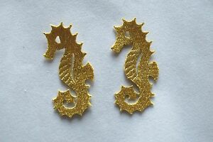 2769-Lot-2-Pcs-Gold-Sea-Horse-Embroidery-Iron-On-Applique-Patch