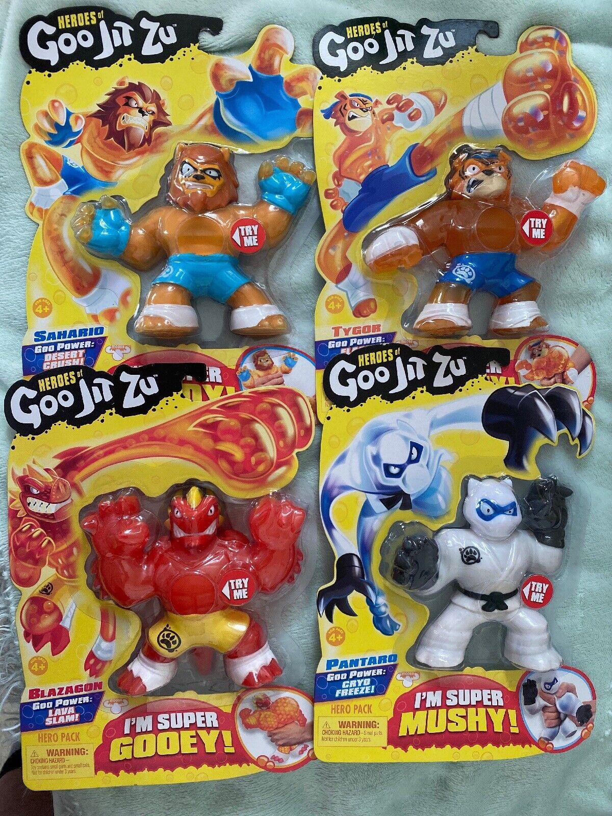 Heroes of Goo Jit Zu 4 Pack Pantaro-Sahario-Blazagon-Tygor  New