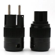 One Pair Rhodium Plated Schuko Power Plug+IEC Female Audio Connector
