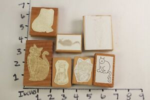 Wooden-RUBBER-STAMP-Block-Lot-Cats-Kittens-Tabby-Tiger
