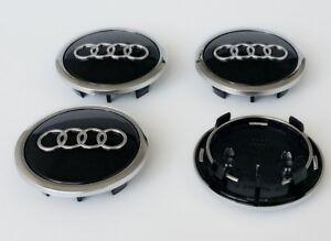 4-x-Audi-Aleacion-Centro-De-Rueda-Caps-69-mm-A3-A4-A5-A6-S-line-TT-Q3-Q5-Negro-Cromo