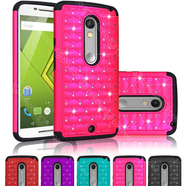 For Motorola Moto X Play/Droid MAXX 2/XT1562 Bling Rhinestone Phone Rubber Case