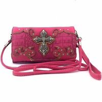 Western Cowgirl Luxurious Wristlet Wallet With Long Strap Cross Small Purse