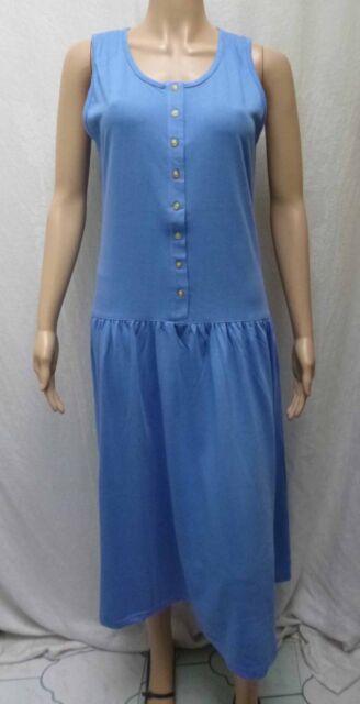 Ladies Blue Drop Waist Sleeveless Casual Summer Dress Size 12