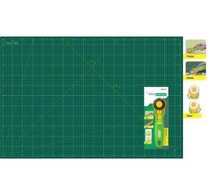 Schneidematte-set-Schneideunterlage-selbstheilend-A1-60x90cm-Gruen-1-Rollsch
