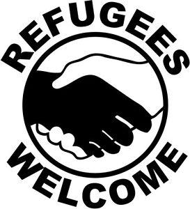 Refugees Welcome Handshake Aufklebergroße Farbauswahlerlöse Werden