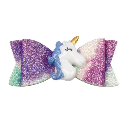 """2.5/"""" Resin Unicorn Synthetic Leather Hair Bow Hair Clips Girls Hair Accessories"""