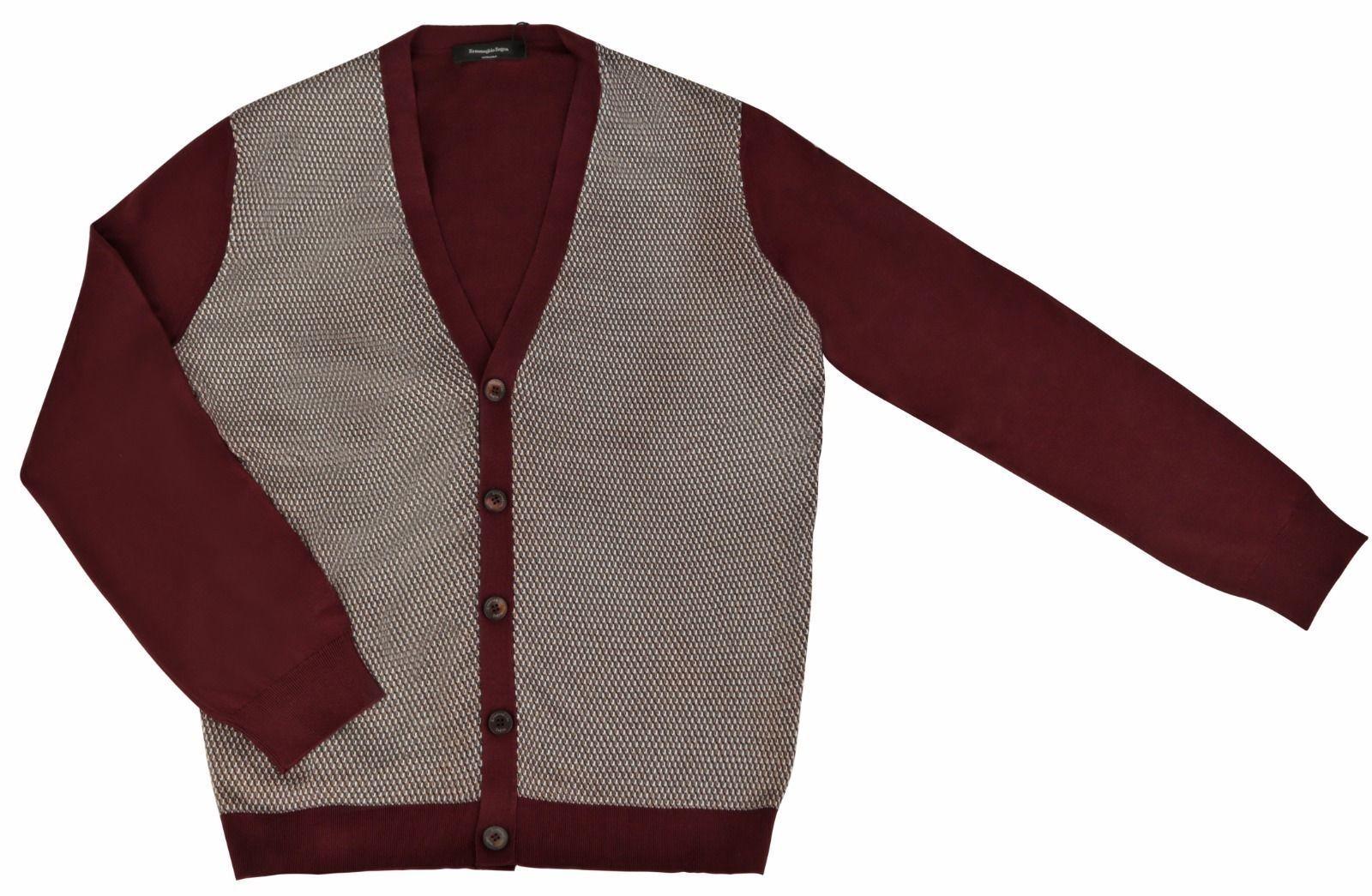 ERMENGILDO ZEGNA  Men's Burgundy 100% Silk Button Front Cardigan Sweater