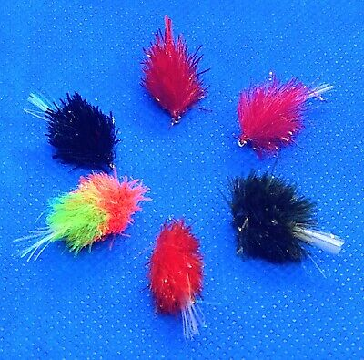 Hook 8 Barbless Fly Fishing Blob Black -Set Of 3 Trout Flies