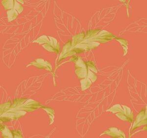 Wallpaper-Designer-Large-Tropical-Green-Palm-Leaves-on-Orange-Background