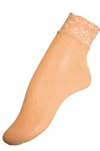 Aurellie Women Beige Fishnet with Decorative Band Ankle Socks One Size