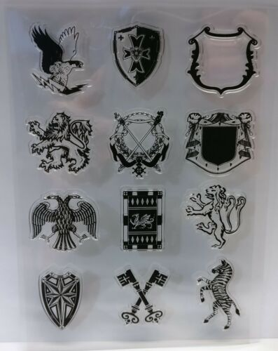 Coat of Arms/Shield/Emblem Clear Stamps Set of 12  – BNIP – FREE P & P