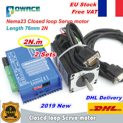 【FRA】Nema23 76mm 2N.m Closed Loop Servo Motor 3A+HSS57 Hybrid Driver CNC Kit