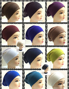 a5f1aa904764 Under Scarf Cap Hijab Scarf Tube Bone Bonnet Chemo Hair Wrap   eBay