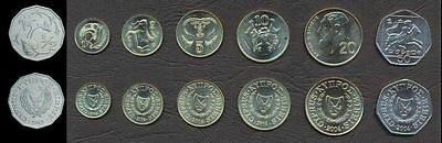 CYPRUS COMPLETE FULL COIN SET Half 1//2+1+2+5+10+20+50 Cents 1983-2004 UNC LOT 7