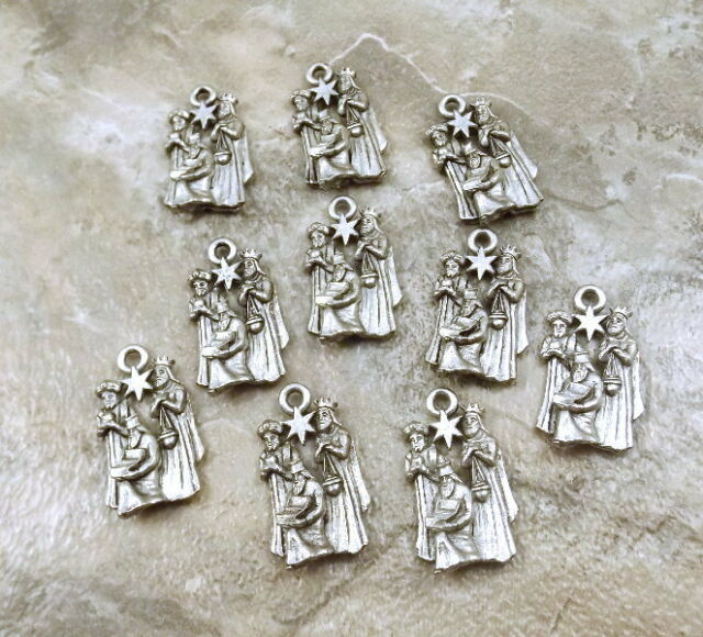 Set of 10 Pewter Charms - 3 WISE MEN - CHRISTMAS Charm - 5259