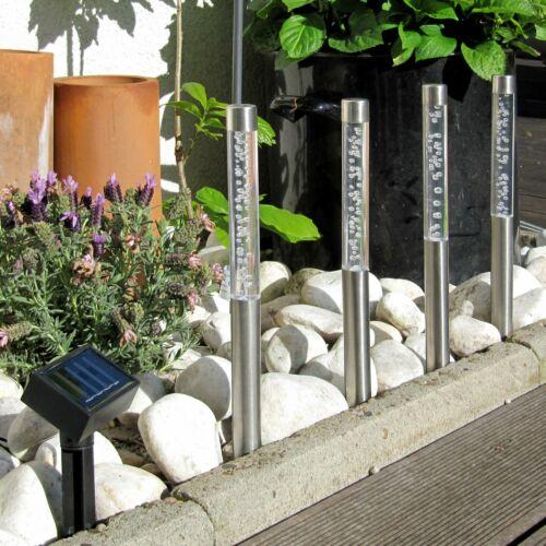 4er Set LED Solar Gartensticks Weiß Wegbeleuchtung Garten,Edelstahl /& Acryl
