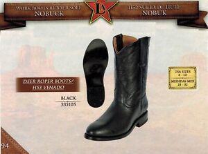 Deer Roper Leather Nobuck Rubber Sole