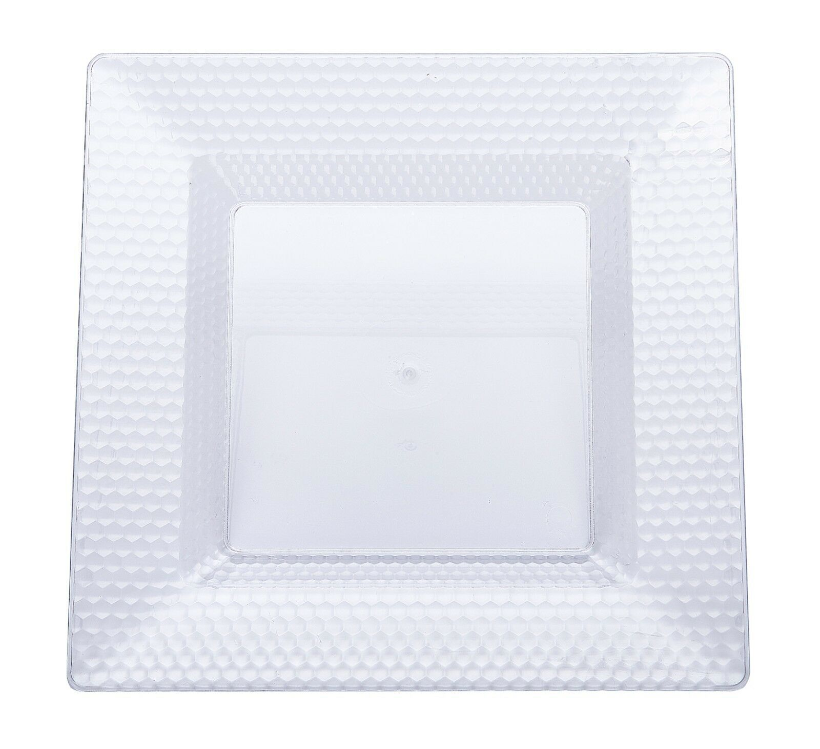 120 x 8 inches Clear Square Quality Diamond Design Plastic Side Plates - Wedding
