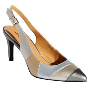 Melanie Slingback Pumps Andiamo Silver Gold Metallic Heels Dress Shoes 6 WIDE