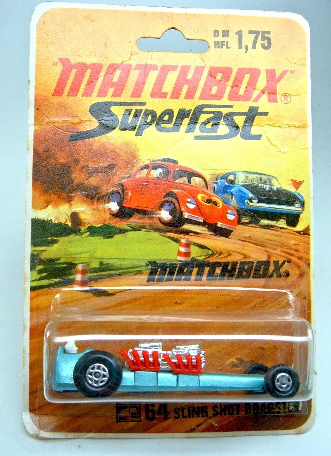 MATCHBOX SF nº 64b SLINGSHOT DRAGSTER  vert fines roues sur 1972 étui.  direct usine