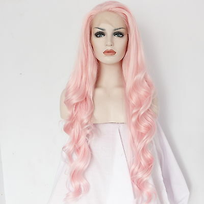 "24"" Pink-Orange Synthetic Hair Lace Front Wig Long Wavy Heat Resistant For Women"