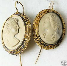 VICTORIAN ANTIQUE 14K GOLD LARGE LAVA CAMEO EARRINGS